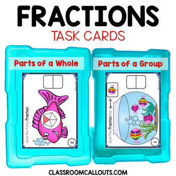 Fraction Task Cards ~ Halves to Eighths Grades 1 - 2