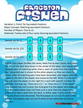 Fraction Fishin' Game (Fractions, Decimals, Per Cents & Equivalent Fractions)