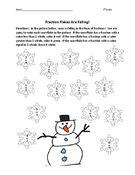 Fraction Flakes are Falling!  3rd Grade Practice with Fractions - Winter Fun