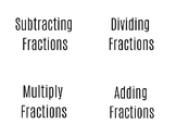 Fraction Flash Cards - Adding, Subtracting, Multiplying, &