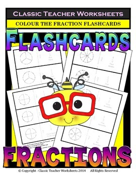 Fraction Flashcards - Basic Fraction Facts 1/1 to 9/9 - Colour the Flashcards