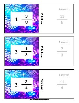Fraction Flashcards - Convert the Mixed Number into an Improper Fraction