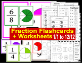 Fraction Flashcards and Worksheets (1/1 to 12/12)