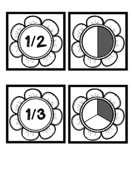 Fraction Flower Matching Cards - Black & White