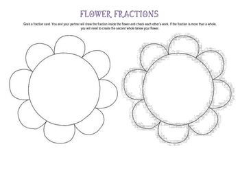Fraction Flowers - Draw the Fractions on the Flower
