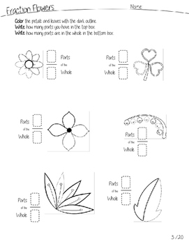 Fraction Flowers Math Worksheets