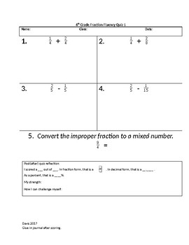 Fraction Fluency Quiz 1