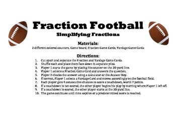Fraction Football - A 2- Player Game to Practice Simplifying Fractions