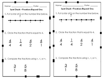 Fraction Formative Assessments / Exit Tickets