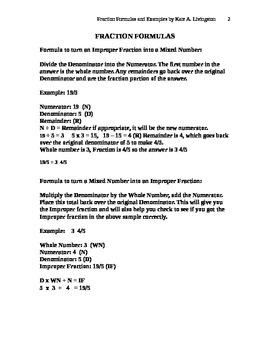 Fraction Formulas Common Denominators Reducing Fractions Improper Fractions