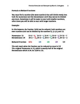 Fraction Formulas Common Denominators Reducing Fractions I