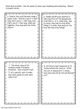 Fraction Freebie: Mixed Practice Word Problems 5.NF.1, 2, 3, 4, 6, 7