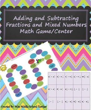 Adding/Subtracting Fractions & Mixed Numbers Game/Station