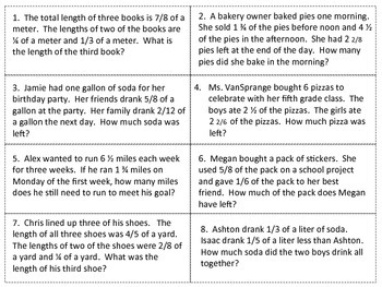 5th Grade Fraction Game w/ Differentiated Word Problems based on Common Core