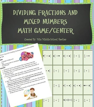 Dividing Fractions & Mixed Numbers Game/Center