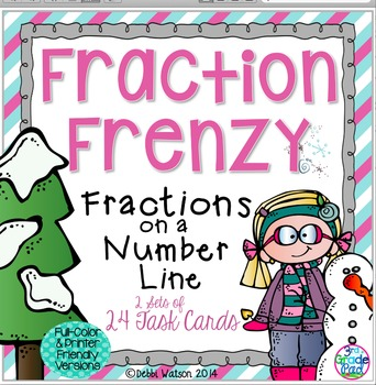 Fractions on a Number Line Task Cards  Both Color/Ink-Friendly