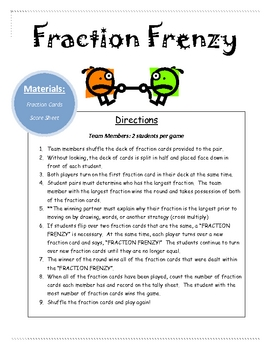 Fraction Frenzy Math Center Game