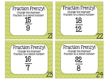 Fraction Frenzy SCOOT: Changing Improper Fractions to Mixed Numbers