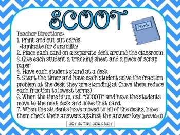 Fraction Frenzy SCOOT: Reducing Fractions to the Lowest Term