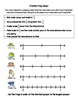 Fraction Frog Jumps Worksheet - Number Line Activity