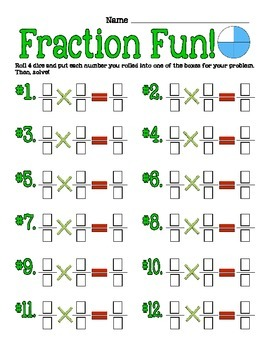 Fraction Fun Division and Multipiction Dice Game - Common Core Aligned