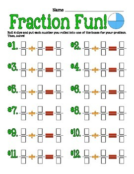 Fraction Fun Division and Multipiction Dice Game - Common