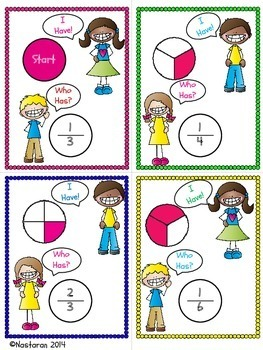 Fraction Games For 3rd Grade  - I have!  Who Has?