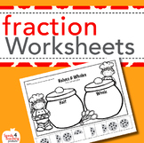 Fraction worksheets for Kindergarten and First Grade