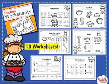 Fraction worksheets for Kindergarten and First Grade