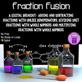 Fraction Fusion Digital Breakout Escape Add Subtract Multiply Divide Fractions