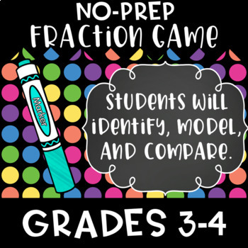 Fraction Game // Identify, Compare, Model fractions // great for stations