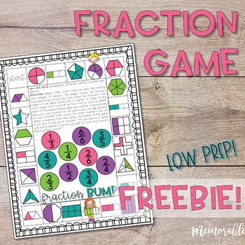 Fraction Game: Representing Fractions FREEBIE