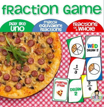Fractions Game Uno-Inspired *Pizza Themed