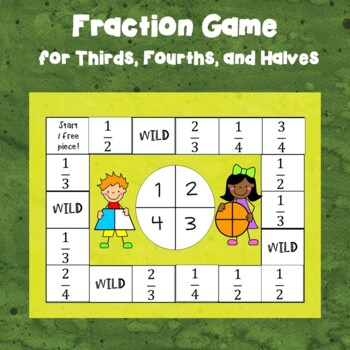 Fraction Game for Halves, Thirds, and Fourths