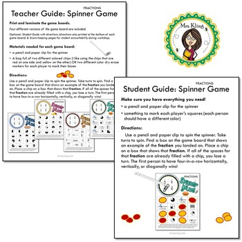Identifying Fractions Printable Math Spinner Games