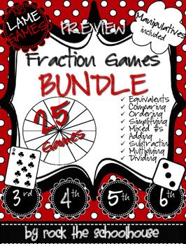 Fraction Games Bundle PREVIEW (Free Manipulatives)