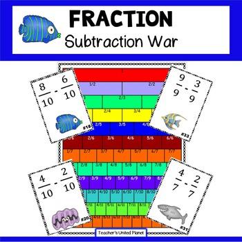 Fraction Games - Fraction Subtraction War and Task Cards!