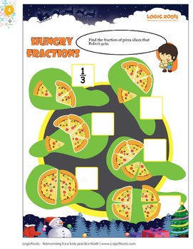 Fraction Games / Fraction Word Problems - Christmas Math Activity - Math Center