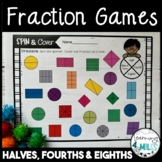 Fraction Games - Halves, Fourths, & Eighths