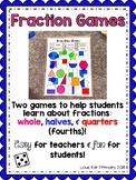 Fraction Games: Whole, Halves, Quarters/Fourths (Ontario)