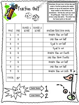 photograph about Comparing Fractions Game Printable named Portion Golfing a activity in the direction of teach creating and evaluating fractions