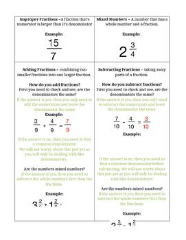 Fraction Graphic Orgainzer
