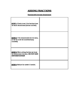 Fraction Graphic Organizer