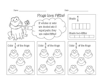 Fraction Handouts (thirds, fifths, sixths, eighths, tenths)