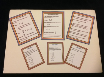 Fraction Helper Cards and accompanying Task Cards