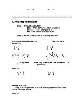 Fraction Hint Sheet