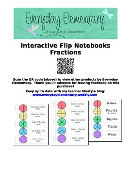 Fraction Interactive Notebook and Flip Book (EDITABLE)