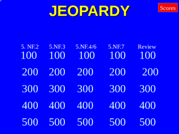 Fraction Jeopardy -5th grade review