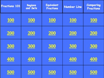 Fraction Jeopardy Grades 3-4