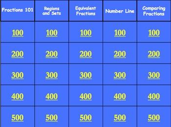 Fraction Jeopardy Grades 3-4